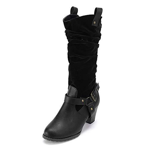 TianWlio Boots Stiefel Schuhe Stiefeletten Frauen Herbst Winter Kniehohe Stiefel mit Mittlerer Ferse Einfarbig Rutschfeste Flock Leder Booties Weihnachten Schwarz 35