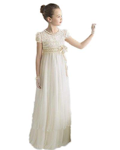 Madedress Schön Blumenmädchen kleider Prinzessin Mädchen Kinder Kommunion Kleid Festlich Brautjungfer Kleid Hochzeit Partykleid Abendkleider (Alter10, Weiß)