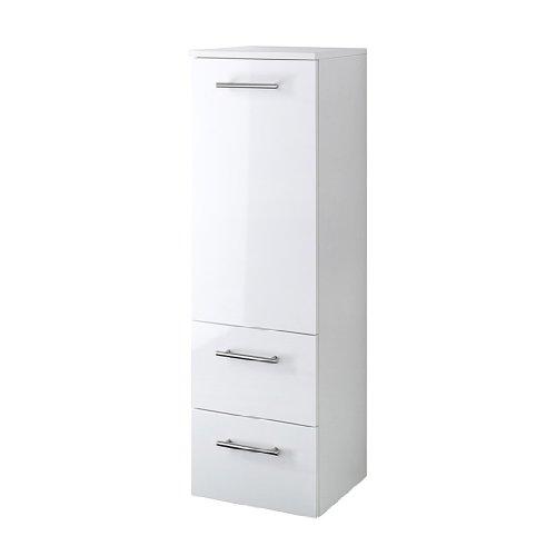 #Held Möbel 220.3007 Blanco Midischrank , 1 türig / 2 Auszüge / 2 Einlegeböden / 35 x 114 x 35 cm / Hochglanz-weiß#