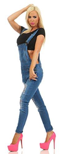 Fashion4Young Damen Latz Jeans Hose Träger Slim-Fit Jeans Overall Haremstyle Latzjeans Übergrößen 10346-blau