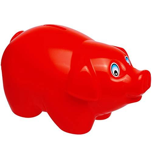 alles-meine.de GmbH große XL - Spardose - Schwein - rot - 19 cm groß - stabile Sparbüchse aus Kunststoff / Plastik - Sparschwein - Glücksbringer - für Kinder & Erwachsene / lusti..