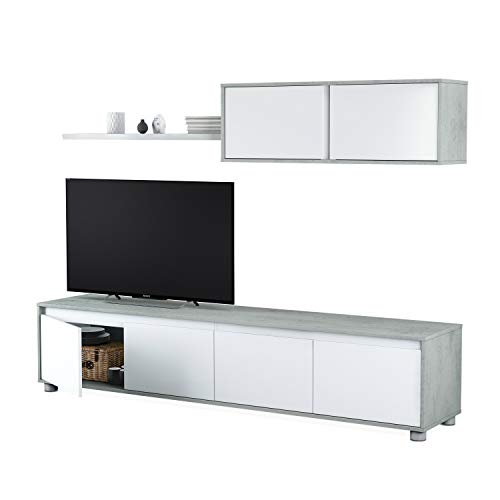 Habitdesign 016663L Mueble de salón Moderno, modulos Comedor Alida, Blanco Artik y...