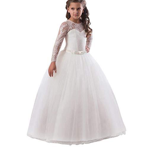 Feixiang vestito principessa bambina abito in pizzo con fiocco abito ragazza eleganti da cerimonia abiti da sposa damigella natale vestiti costume partito mini gonna vita alta