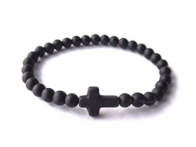 Bracelet homme - onyx noir mat - croix noire