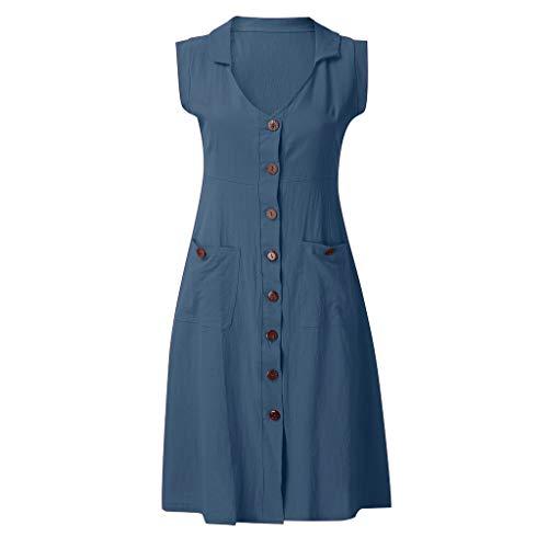 LOPILY Damen Taschen Sommerkleider mit Knofpen Knielang Kleid Ärmellos Kleid Einfarbige Lose Shirtkleider V-Ausschnitt Leinenkleider Damen A-Linie Businesskleider (Blau, EU-34/CN-S)
