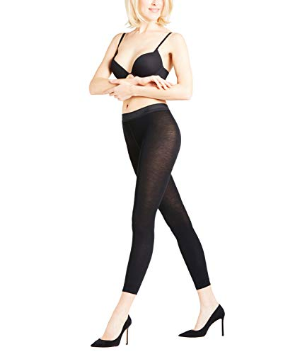 FALKE Damen Leggings Softmerino, Merinowolle/Baumwollmischung, 1 Stück, Schwarz (Black 3000), Größe: 40-42
