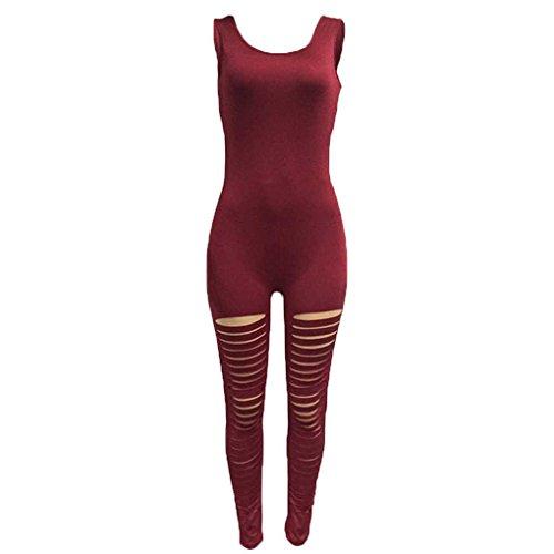 Minzhi Donna Bodycon Tute Body Pagliaccetti Spaghetti Legging Playsuit Cinghia senza maniche Pagliaccetti vino rosso