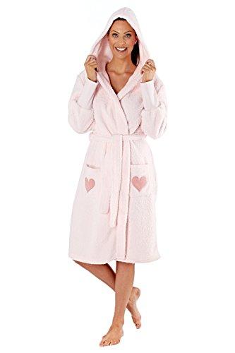 Selena Secrets Damen Fleece Bademantel mit Herz Muster und Kaputze (Rosa) 44-46 - Fleece-pyjamas-herz