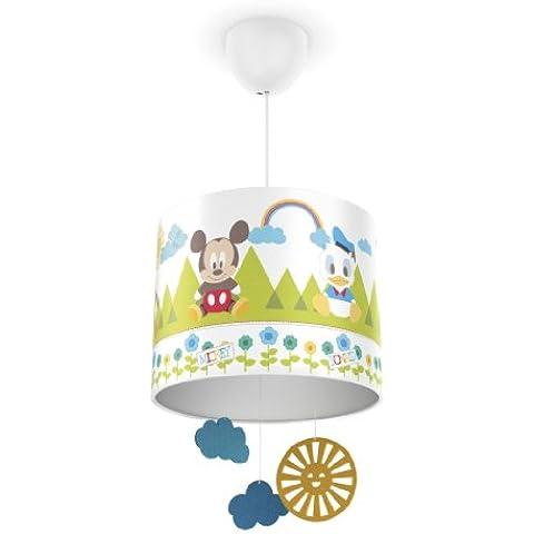 Philips Disney Baby Mickey Mouse - Lámpara colgante, iluminación interior, luz blanca cálida, plástico, color blanco