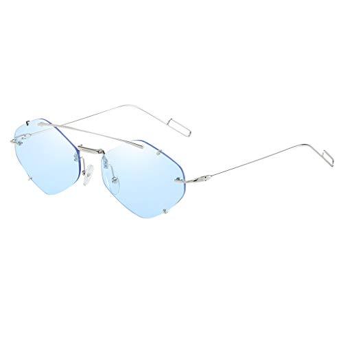 Lazzboy Frauen Flache Linse Verspiegelt Metallrahmen Brille Cat Eye Sonnenbrille Neu Unisex Fashion Unregelmäßige Form Metall Spiegel Gläser Leichte Retro Trend Sonnenbrillen(Blau)
