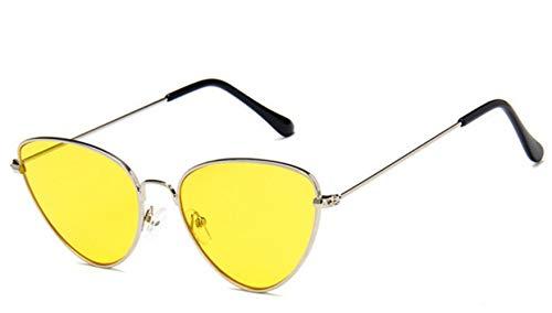 Cranky Orange 2019 Cat Eye Vintage Markendesignerspiegel Sonnenbrille Damen Metall Reflektierende Flache Linse Sonnenbrille Damen oculos de sol, C3