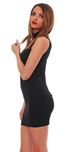 Japan Style von Mississhop Kleid Longshirt Minikleid- Tunika mit Kragen Japan Style Schwarz