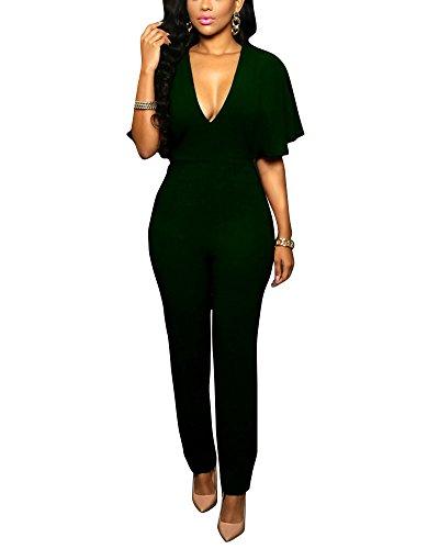 SaiDeng Femmes Slim Lâche Jumpsuit Col En V Pantalon Clubwear Vert