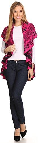 Sakkas Balie Reversible Printed Mid Gewicht Warm Poncho Werfen Schal / Cardigan Rose / Schwarz