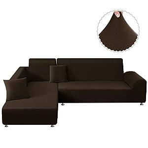 TAOCOCO Sofa Überwürfe Sofabezug Elastische Stretch für L-Form Sofa Abdeckung 2er Set für 3 Sitzer + 3 Sitzer mit 2 Stücke Kissenbezug (Braun)
