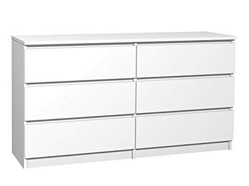 Radgermany Moderne Kommode 6 Schubladen 120cm BREIT Schubladenkommode Weiß