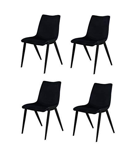Meubletmoi Lot DE 4 - Chaises Tissu Velours Noir piétement métal - Confort Ergonomique - Premium Collection & Design Contemporain - ASAMI Noir