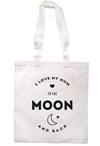 breadandbutterthreads i love my mum to the Moon and Back Borsa 37,5 cm x 42 cm con manici lunghi Natural