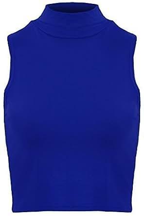 Bild nicht verfügbar. Keine Abbildung vorhanden für. Farbe: SAPHIR BOUTIQUE  Damen Hoch Polo Rollkragen Ärmellos Stretch Einfarbige Weste Bauchfreies  Top 8 ...