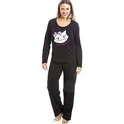Conjunto de pijama largo - Motivo gato - Negro 42