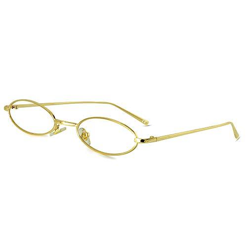 AMZTM Vintage Ovale Sonnenbrille - Retro Mode kleine Metallrahmen Sonnenbrille für Mädchen Damen Süßigkeitsfarbe UV400 Schutz HD Vision Damenmode (Goldener Rahmen, klare Linsen)