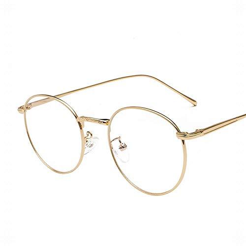 KERVINFENDRIYUN YY4 Runde Rahmen Brillengestell Frauen/Männer Retro Runde Gesicht Flachen Spiegel Kick Ball Myopie Rahmen (Farbe : Gold)