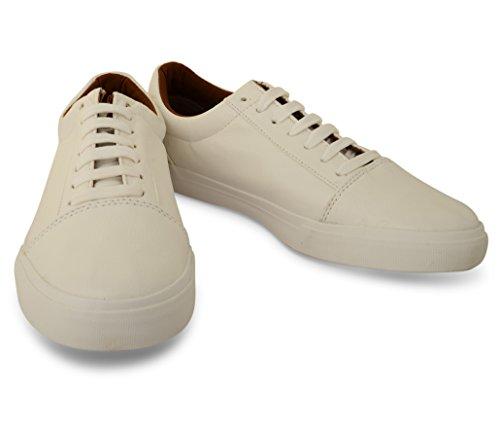 hachuré style Hommes de faible Baskets Plimsole Casual en Cuir Synthétique Chaussures Blanc - blanc