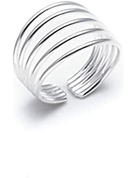 Silverly Women's .925 Sterling Silver Spinning Stackable 7 Interlinked Joined Layers Ball Bead Ring