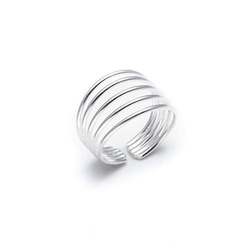 Silverly Frauen .925 Sterling Silber Five Band justierbar poliert Zehenring
