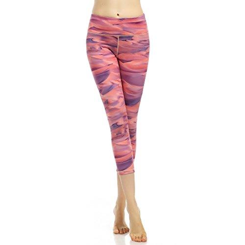 Femmes Pantalons Capri, Netspower Femmes Pantalons Capri Slim Pantalons Capris Cropped Pantalons Running Yoga Leggings Pantalons Rayures rouges