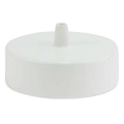 Lampen Baldachin aus Edelstahl weiß Ø 10 × H 3,1 cm - Abdeckung für Hängelampen und Befestigungsmaterial