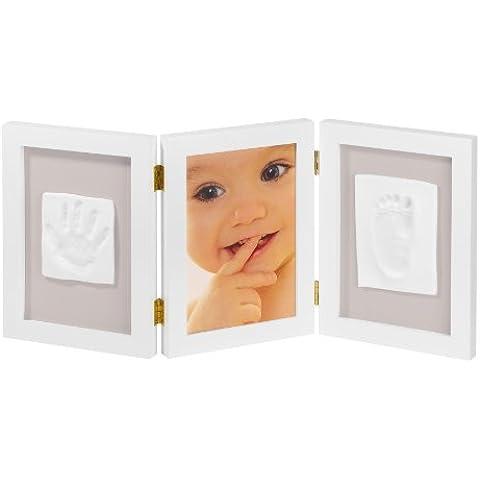 My Sweet Memories 34122003 - Marco triple para foto y 2 huellas de bebé, color blanco