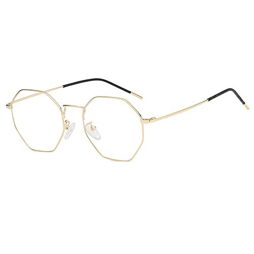 YAM DER Damen Unregelmäßige Brillen mit Unregelmäßigem Rahmen für Männer,Herren Frauen Mode klare Linse Brille Vintage Retro Style Metallrahmen,Anti-UV,Anti-Blue Light,Anti-Fog (C)