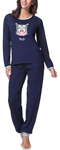 Lange Muster Warme Baumwolle (Merry Style Damen Schlafanzug 980 (Navy, XL))
