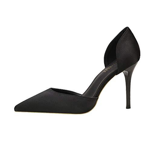WRF Einfarbig Damenschuhe High Heel Stiletto Satin Hollow Hollow Sandals (Farbe : Schwarz, größe : 37 1/3 EU) Black Satin Bow Sandals