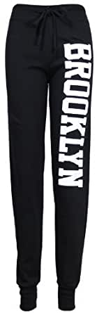 Womens New Brooklyn Printed Ladies Bottoms Adjustable Tie Waistband Stretch Tracksuit Jogging Joggers Pants