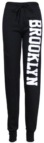 Damen Neu Brooklyn Bedruckt Damen Hose Verstellbar Krawatte Bund Stretch Trainingsanzug Jogginghosen