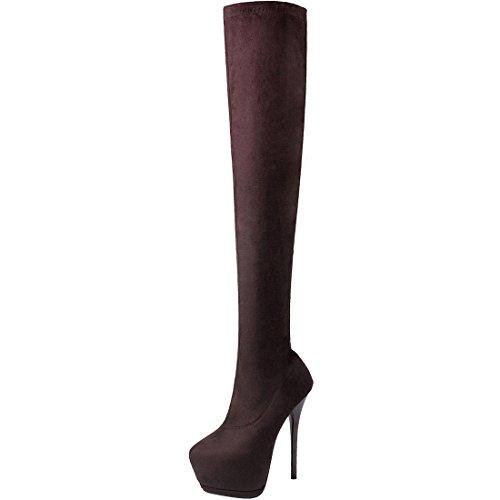 Oasap Femme Chic Boots Tige Haute Faux Su'd' Talons Hauts Plate-forme Brun
