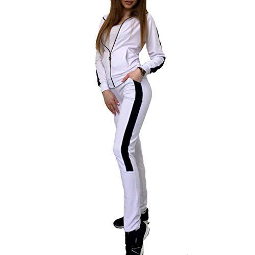 Juleya Donna Tuta Sportiva Abbigliamento Sportivo Morbida Comoda Pullover a  Maniche Lunghe Pantaloni 2 Pezzi Vestiti eaa6d69b15f