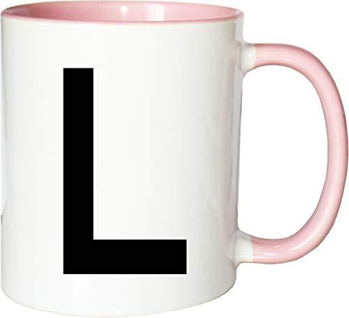 Mister Merchandise Becher Tasse Buchstabe L Kaffee Kaffeetasse liebevoll Bedruckt Anfangsbuchstabe Initial Initialien Weiß-Rosa (L-becher Buchstaben)