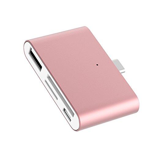LIGHTUPRO Typ-C Kartenleser OTG HUB Adapter USB3.1 micro SD / TF Flash Speicherkartenleser Lesen und Schreiben mit OTG für USB C Gerät, SmartPhones, Tablets (Roségold) (Halloween Geräte)