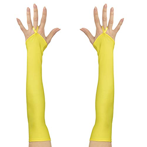 NET TOYS Fingerlose Handschuhe mit Mittelfinger-Schlaufe | Neongelb | Hochwertiges Frauen-Kostüm-Zubehör Armstulpen | Passend gekleidet für Fasching & ()
