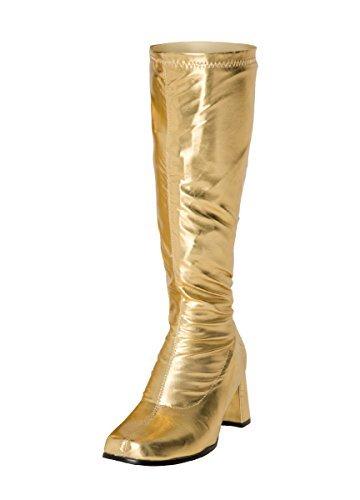 Kostüm Kniehohe Stiefel 60s 70s Retro Look GoGo-Stiefel - Gold, (Gold Stiefel Kostüm)