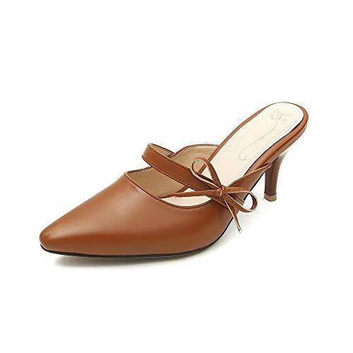 andalen Sommer Mules Schuhe Frau Hohe Qualität Aus Echtem Leder Frauen Sandalen Sey Spitz Zehe Hochhackige Party Schuhe 3 Kakhi ()