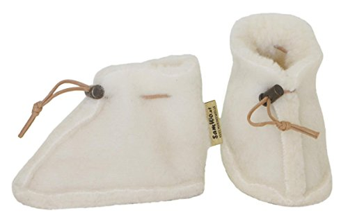 SamWo Babyschuhe 100% natürliche Schafwolle mit Schnellverschluss