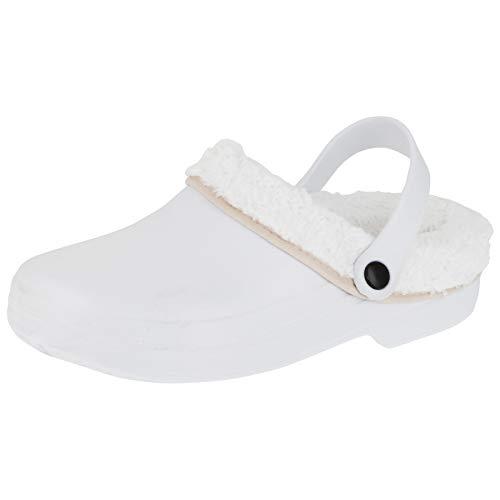 2Surf Gefütterte Damen Clogs Winter und Sommer Schuhe Hausschuhe mit herausnehmbarem, waschbarem Futter M487ws Weiß 42 EU