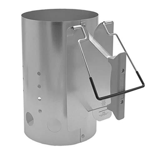 XXL Grillkohleanzünder | Extra Groß | Höhe: ca. 30,5 cm / Ø ca. 19 cm | Ausschütthilfe | Hitzeschild | Grillstarter - Anzündkamin - Grillanzünder