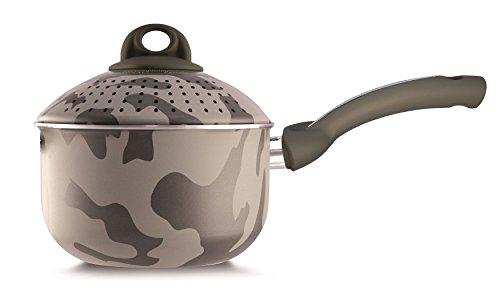 Pensofal, Serie Army, Pentola Pastasì 1,5 lt Baby, Diametro 16 cm, Manico in bakelite, in Scatola Regalo, Alluminio con rivestimento antiaderente, Camouflage