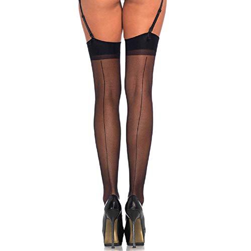 Leg Avenue 1000Q - Durchscheinend Halterlose Damen Strümpfe Mit Rückwärtiger Naht Schwarz Dessous Damen Reizwäsche, Plus Size (EUR 42-46) - Plus Size Halterlose Strümpfe Strumpfhose