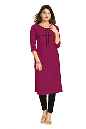 Muta Fashions American Crepe Wine Red Women Kurti ( KURTI363_Wine Red )